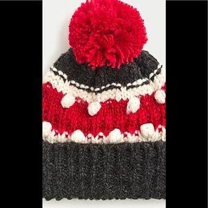 NWT J. Crew chunky knit toboggan Gray & red